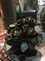 Réz virágokkal készült kosárka