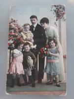 Régi képeslap vintage családi fotó képeslap