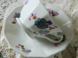 Antik H&C porcelán szett, csésze, kistányér, pillangó
