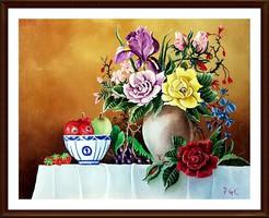 Gyönyörűen megfestett , art deco stílusú jelzett olajfestmény ( 51 x 41 cm )
