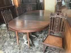 Kitolható etkező asztal,6db székkel