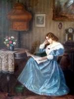 Poll Hugó:   Olvasó nő -  egy igazi antik festmény !!!