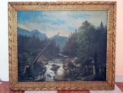 Óriási 100 éves ANTIK VADÁSZ festmény - RÉGNER Pál eredeti alkotás !!!