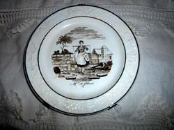 Antik majolika fali  tányér