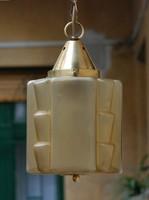 Art deco réz mennyezei lámpa különleges formájú méz színű savmart üvegbúra