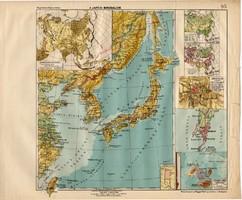 A Japáni birodalom térkép 1913, eredeti, teljes atlasz, Kogutowicz Manó, régi, Japán, Nipon, Jesszo