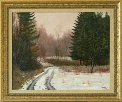 F. Szabó János - Bakonyi erdő télen című olajfestménye, EREDETISÉG IGAZOLÁSSAL, INGYEN POSTÁVAL