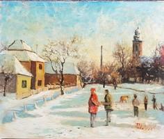 Podolyák Vilmos - Téli délután falun 50 x 60 cm olaj, vászon, farostra kasírozva