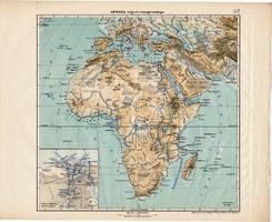 Afrika hegy- és vízrajzi térkép 1913, eredeti, teljes atlasz, Kogutowicz Manó, régi, Nílus