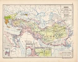 Oriens térkép, kiadva 1913, eredeti, atlasz, történelmi, Kogutowicz Manó, Ázsia, perzsa, méd, asszír