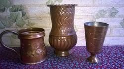 Asztali , vörösréz szett - Váza,pohár,kupa
