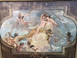 Vajda Zsigmond : Templom Freskó Olaj vásznon