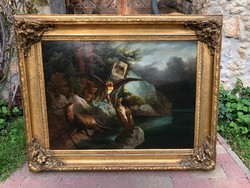 19.századi Biedermeier Festmény - Sebzett Szarvas Sasokkal - Vadászati Téma