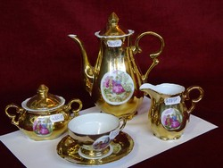 Japán porcelán 6 személyes kávéskészlet. Aranyozott, jelenetet ábrázoló képpel.