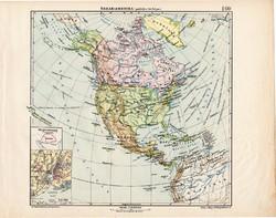 Észak - Amerika politikai térkép 1913, eredeti, atlasz, Kogutowicz Manó, régi, Nagy - Magyarország