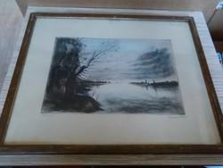 Élesdy István (1912-1987) folyópart színes rézkarc