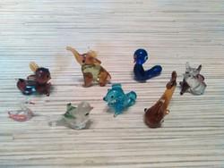 Mini üveg állatfigurák vitrin disz