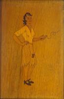 0Y339 Régi századeleji intarziakép cigarettázó nő