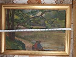 Csányi Lajos (1954-1999), olaj, vászon, méret jelezve