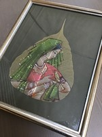 Régi Indiai falevélre festett olajfestmény üvegezett keretben
