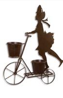 Lány biciklivel - virágtartó