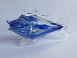 Régi Csehszlovák kék üveg hal