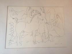 Reich Károly szitanyomat grafika képcsarnokos cimkével