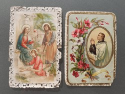 Antik mini csipkés szélű szentkép 2 db