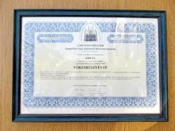 Kárpótlási jegy-Tőrzsrészvény-1994 (keretben, üvegezve, 10000 Ft., HB Westminster)