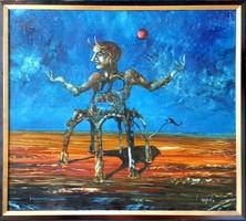 Győrfi András - Ördög 80 x 90 cm olaj, farost 1994-es