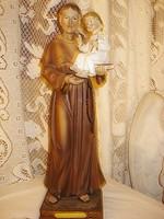 Hatalmas nagyon szép állapotban egyházi biszkvit porcelán  szobor Szt.Péter a kisdeddel 41 cm