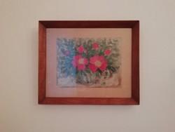 Retro kis virágos akvarell, fa keretel