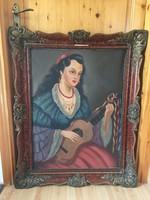 Szánthó Mária zenélő cigány asszony festmény blondel keretben