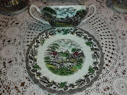 Staffordshire, Myott, angol leveses alátét tányérral...Gyönyörű, színes, vadászjelenetes.