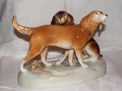 Kutyapár nagyméretű régi Royal Dux porcelán
