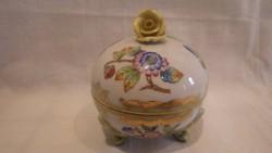 Herendi porcelán Viktória háromlábú rózsás bonbonier