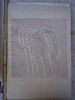 Somlai Vilma dombornyomott alkotása vastag, nagy papírra