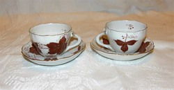 Csodás kávéscsésze aljával 2 db Aquincum  porcelán kézi festés