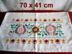 Kézzel hímzett különleges népi mintás díszpárna huzat, párnahuzat 70 x 41 cm
