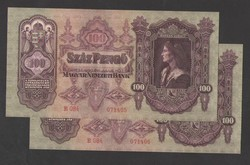 100 pengő 1930.  2 db sorszámkövető!!  GYÖNYÖRŰ!!  UNC!!
