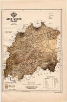 Árva megye térkép 1889 (4), Magyarország, vármegye, atlasz, eredeti, Kogutowicz Manó, 28 x 43 cm