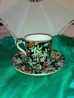 Royal Winton, angol porcelán gyönyörű, virágos kávés csésze alátét tányérral.