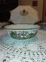 Staffordshire, Myott,angol,színes porcelán leveses tál.
