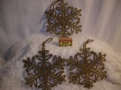 Karácsonyfadísz - NAGY 18 x 18 cm - óarany - acélhuzalból - gyönggyel borított hópihe
