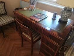 Tiszafa íróasztal bőr berakásos asztallappal