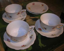 Zsolnay  3 manófüles kávés csésze+alj+ 2 alj együtt