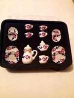 Miniatűr porcelán kávéskészlet 15db-os