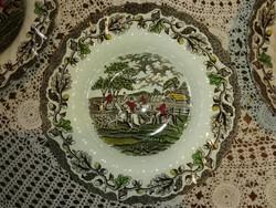 Angol jelenetes, Staffordshire, Myott leveses tányér, színes.
