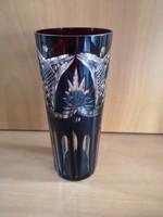 Bordó, metszett kristály pohár vagy váza hibátlan