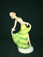 Art deco táncosnő porcelán figura 20 cm